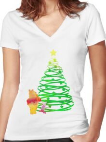Christmas Bear and Pig Inspired Silhouette Women's Fitted V-Neck T-Shirt