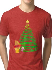 Christmas Bear and Pig Inspired Silhouette Tri-blend T-Shirt