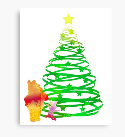 Christmas Bear and Pig Inspired Silhouette Canvas Print