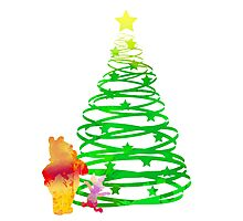 Christmas Bear and Pig Inspired Silhouette Photographic Print