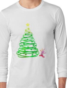 Christmas Pig Inspired Silhouette Long Sleeve T-Shirt
