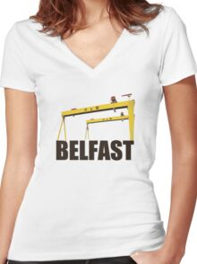 Belfast, Northern Ireland - Harland and Wolff shipyard Women's Fitted V-Neck T-Shirt
