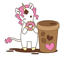cute unicorn eating a donut with a cup of coffee Photographic Print
