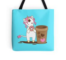 cute unicorn eating a donut with a cup of coffee Tote Bag