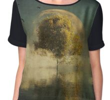 Surrealistic landscape with yellow birch and full moon Chiffon Top