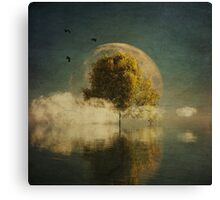 Surrealistic landscape with yellow birch and full moon Canvas Print