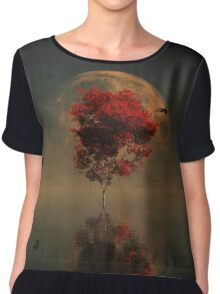 Surrealistic landscape with red mapple and full moon Chiffon Top