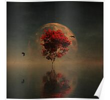 Surrealistic landscape with red mapple and full moon Poster