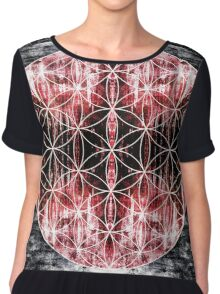 flower of life 9-16 red Chiffon Top