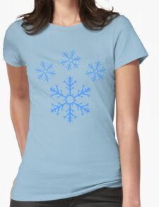Blue Snowflake Pawprint Womens Fitted T-Shirt