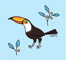 Friendly Toucan with Berries by Zoe Lathey