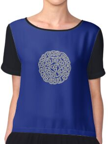 COMPLEX, KNOT, CELTIC, CELT, DRUID, Mandala Ireland, Irish, Eire, on Navy, Blue Chiffon Top