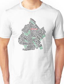 Brooklyn New York Typography Map Unisex T-Shirt