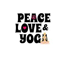 Peace, Love, Yoga Case - Burgundy Photographic Print