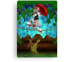 Cute halloween The Cat, Mouse and crocodile Deadly circus Canvas Print