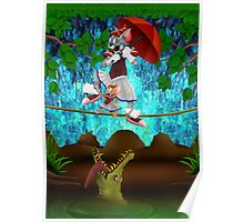 Cute halloween The Cat, Mouse and crocodile Deadly circus Poster