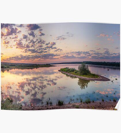Little island on sunset Poster