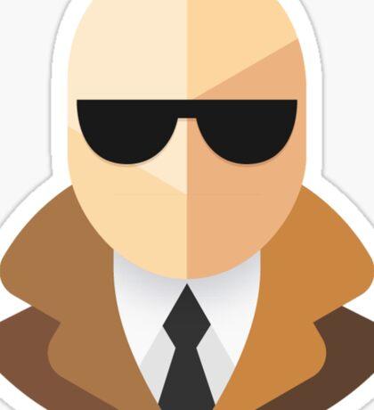 White Secret Agent Sticker