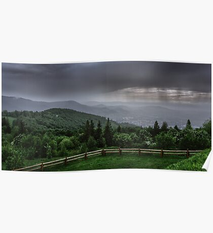 Rain over the Silesian Beskids Poster