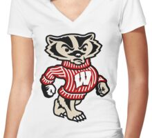 Badgers Mascot Women's Fitted V-Neck T-Shirt
