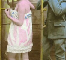 A WWI Soldier reacts to a lady in the shower Sticker