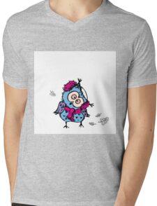 cute owl wearing a warm scarf Mens V-Neck T-Shirt