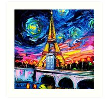 tardis starry night in the paris Art Print