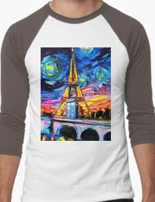 tardis starry night in the paris Men's Baseball ¾ T-Shirt