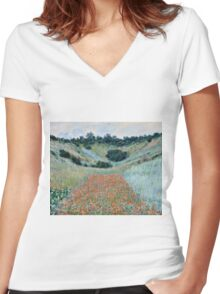 Claude Monet - Poppy Field in a Hollow near Giverny (1885)  Women's Fitted V-Neck T-Shirt