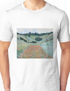 Claude Monet - Poppy Field in a Hollow near Giverny (1885)  Unisex T-Shirt