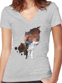 Space Man Women's Fitted V-Neck T-Shirt