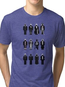 Timelord recognition guide (1st - 11th plus war Doctor) Tri-blend T-Shirt