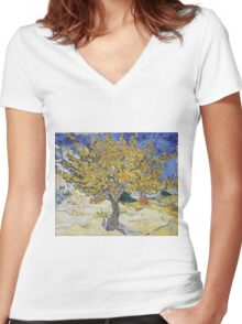 Vincent Van Gogh - Mulberry Tree, 1889 Women's Fitted V-Neck T-Shirt