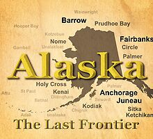 Aged Alaska State Pride Map Silhouette  by KWJphotoart