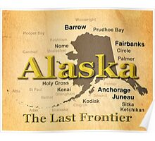 Aged Alaska State Pride Map Silhouette  Poster