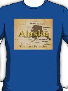 Aged Alaska State Pride Map Silhouette  T-Shirt