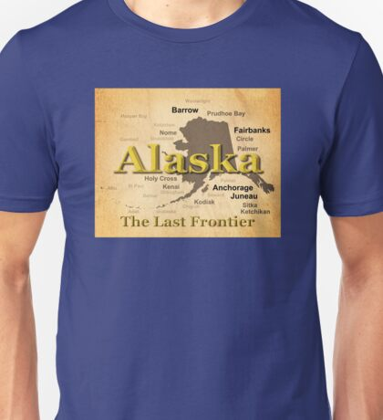 Aged Alaska State Pride Map Silhouette  Unisex T-Shirt