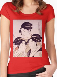 Kitagawa Utamaro  -  Three Beauties Of The Present Day  Women's Fitted Scoop T-Shirt