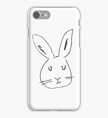 Rabbit on white background. Cute rabbit cartoon.  iPhone Case/Skin
