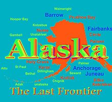 Colorful Alaska State Pride Map by KWJphotoart