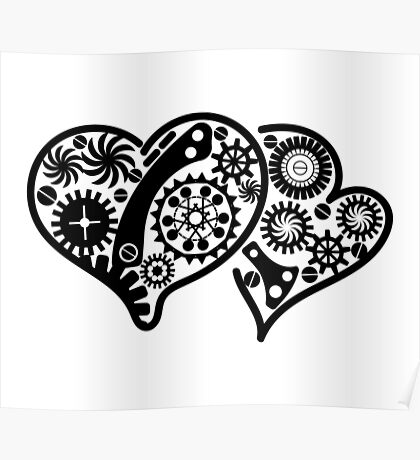 Vintage steampunk hearts  Poster