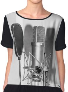 Microphone , sound recording equipment for singing Chiffon Top