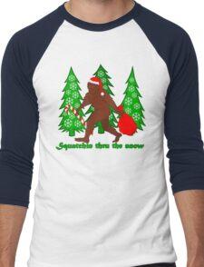 Squatchin Thru The Snow Funny Christmas Bigfoot Men's Baseball ¾ T-Shirt