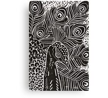 Peacock Linocut in Black Canvas Print