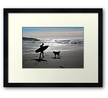 Surfer and Dog Silhouette Framed Print