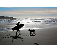 Surfer and Dog Silhouette Photographic Print