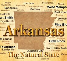 Aged Arkansas State Pride Map Silhouette  by KWJphotoart