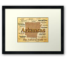 Aged Arkansas State Pride Map Silhouette  Framed Print