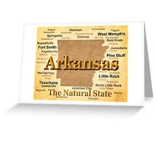 Aged Arkansas State Pride Map Silhouette  Greeting Card