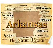 Aged Arkansas State Pride Map Silhouette  Poster